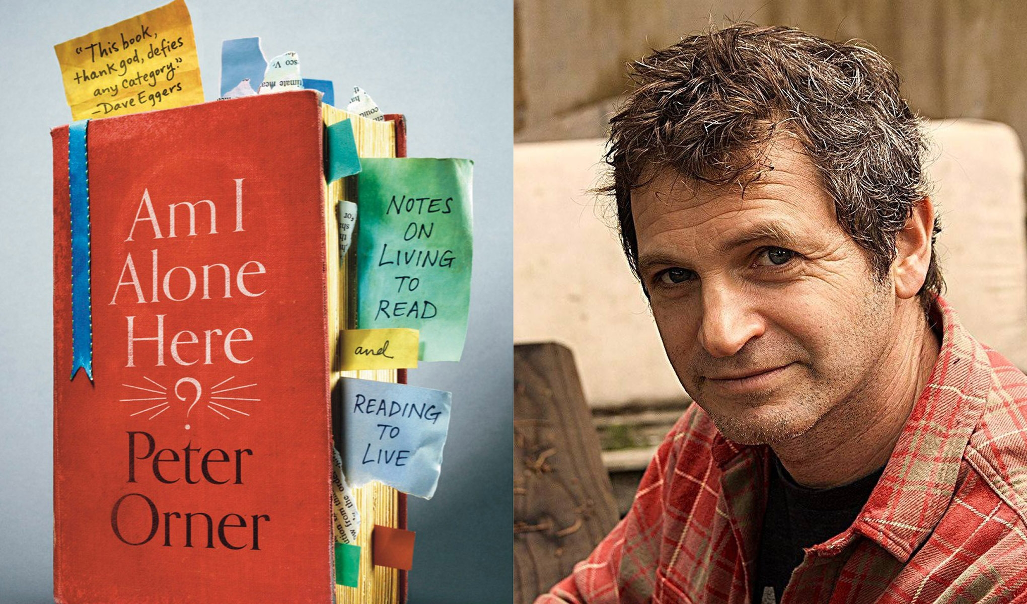 A headshot of author Peter Orner and his new book
