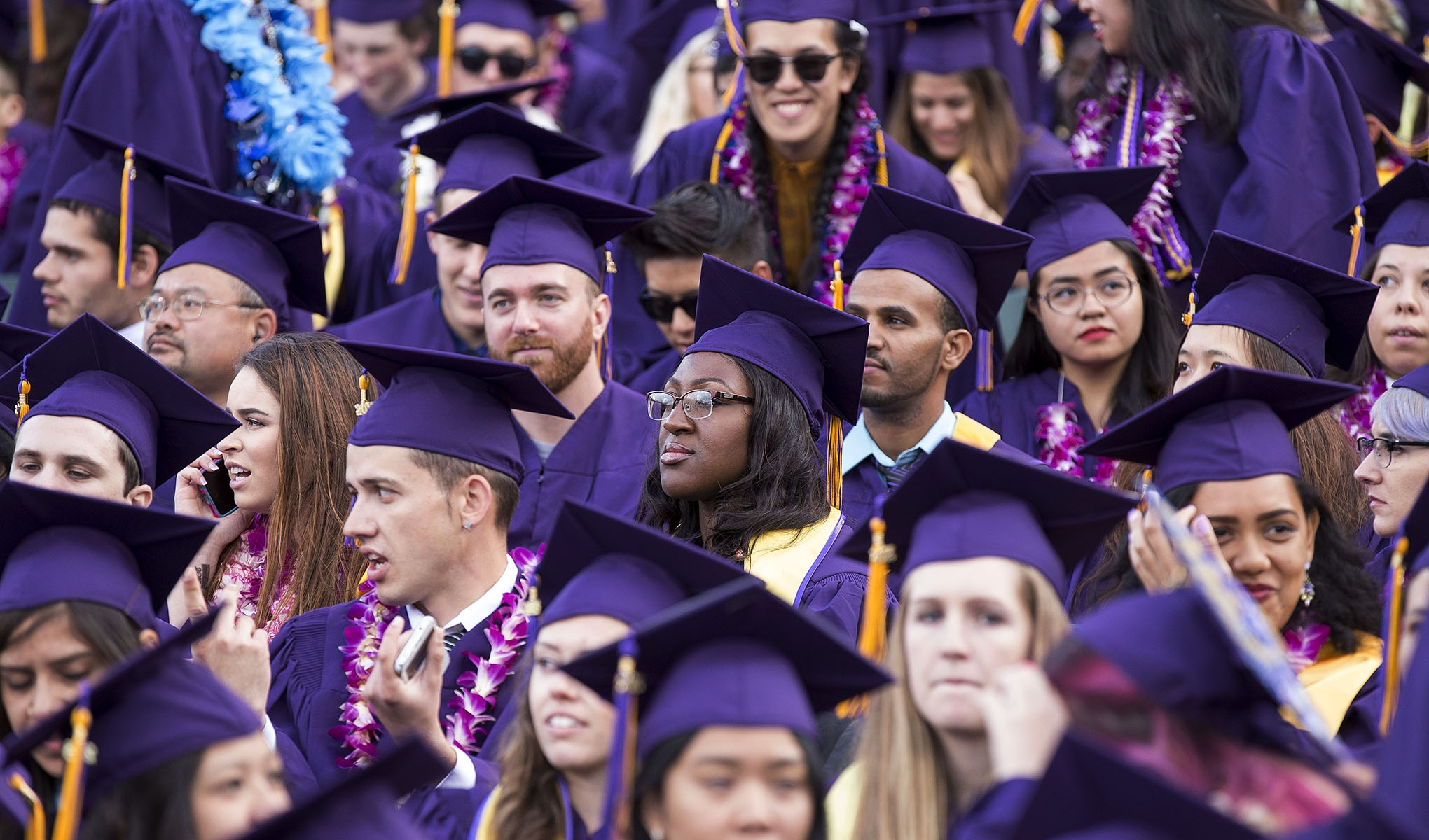 A photo of SF State graduates in purple caps and gowns at Commencement.