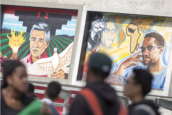Mural of Cesar Chavez and Malcolm X
