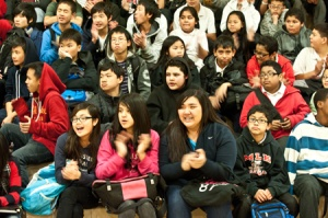 Martin Luther King Middle School students listen as Wells Fargo presents a $50,000 check to SF Promise on Tuesday.