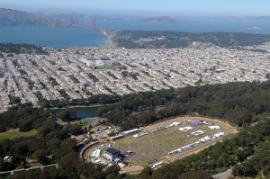 An aerial photo of concertgoers at the 2011 Outside Lands Music and Art Festival.