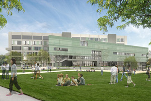 An artists' impression of what the J. Paul Leonard Library will look like once renovations are complete, showing the Library's glass-paneled exterior and the campus quad.