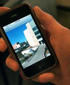 Photo of campus tour smartphone app in action