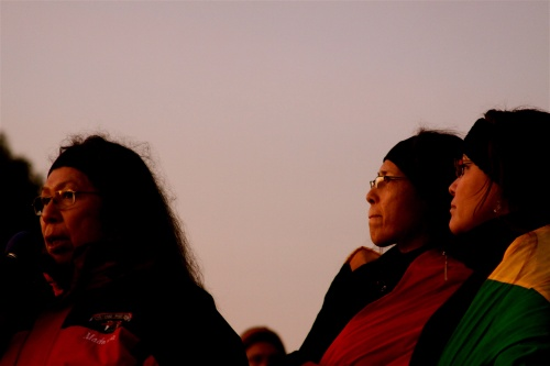 A photo of indigenous leaders at the 40th Anniversary of the American Indian Occupation of Alcatraz Island.