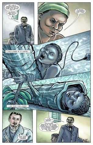 A sample page showing illustrations from the graphic novel