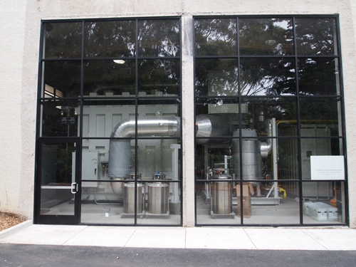 A photo of the front view of the fuel cell plant, located north of the Gymnasium.