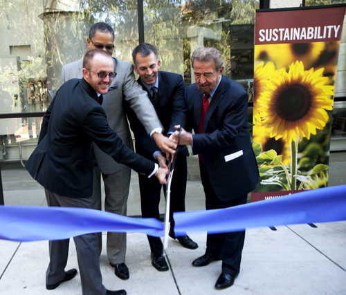 A photo of the dedication of the new fuel cell plant at SF State on Dec. 8.
