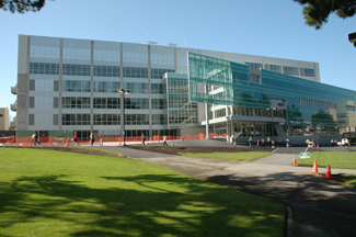 A photo of the J. Paul Elonard Library from the quad side.