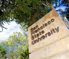 An image of a sign that reads 'San Francisco State University.'