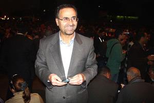Photo of Associate Professor of International Relations Mahmood Monshipouri in Cairo's Tahrir Square.