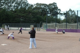 A photo of the SF State softball team practicing