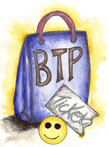Graphic logo of the Beyond the Purchase website showing a shopping bag with a smiley face
