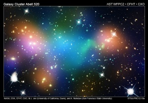 A photo of the merging galaxy cluster Abell 520
