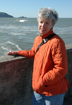 A photo of SF State Professor of Creative Writing Toni Mirosevich at the Pacifica Pier.