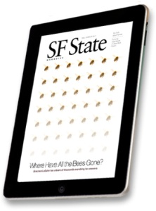 Cover of SF State Magazine, with photos of bees.