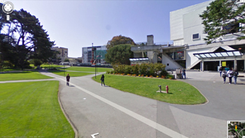 A photo of the SFSU Bookstore and quad as seen from Google Street View.