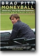 DVD cover for the film Moneyball, showing actor Brad Pitt.