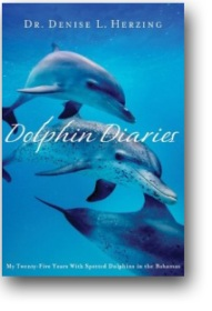 Book jacket for Dolphin Diaries, showing two dolphins swimming