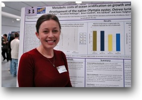 A photo of Sarah Boles presenting her research.
