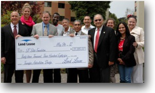 Photo of representatives from Lend Lease and SF State and students from the TAB program holding a large check.