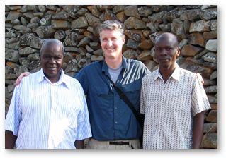 A photo of Kisumu Museum Board of Directors Chairman Austin Kapere, SF State museum studies Program Director Edward Luby and Thimlich Ohinga site curator and head of interpretation Silas Nyagweth